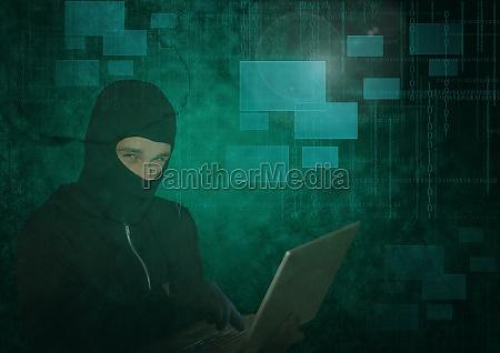 3d hacker using a laptop in