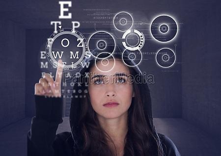 3d woman hacker touching a digital