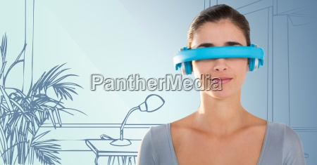 woman in blue virtual reality headset
