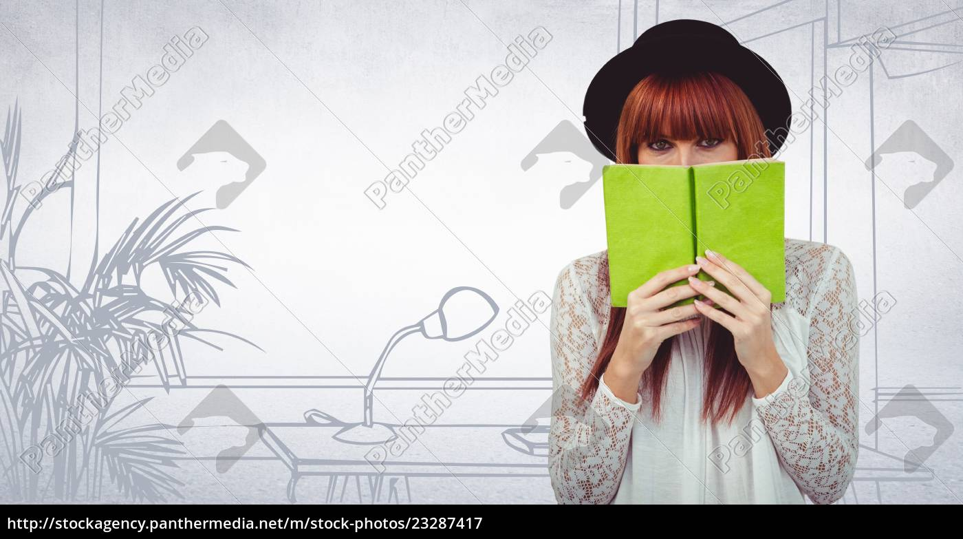 millennial, woman, with, green, book, against - 23287417