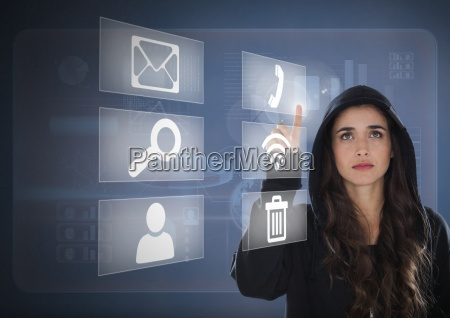 woman hacker touching digital icons on