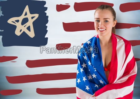 woman wrapped in american flag against