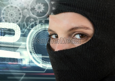 woman hacker wearing an hood in