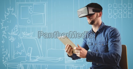 man in virtual reality headset with