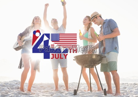 fourth of july graphic with flags