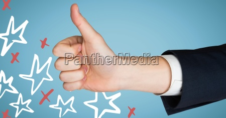 hand giving thumbs up against blue