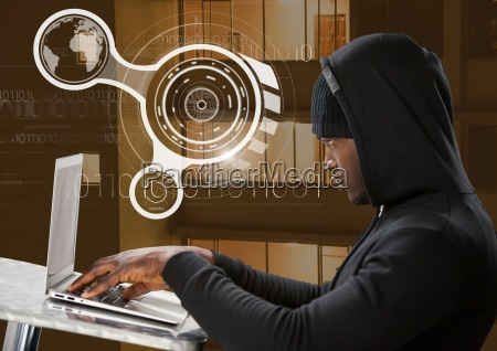 side view of hacker using a