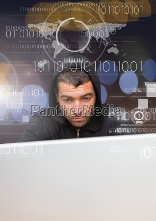close up of hacker using a
