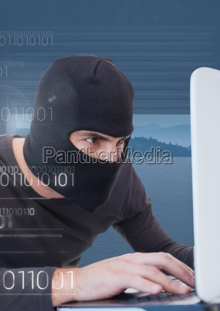close up of hacker working on