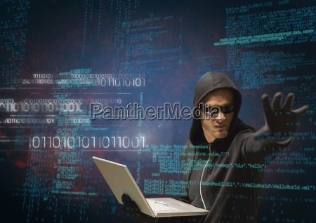 hacker holding a laptop and extending