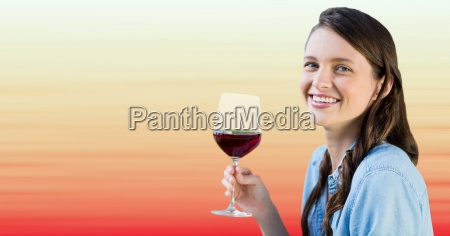 millennial woman tasting wine against blurry