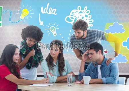 group of friends sitting in front