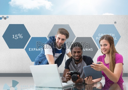 group of young people on computer