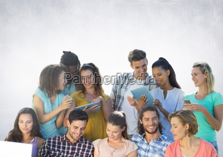 group of students reading in front