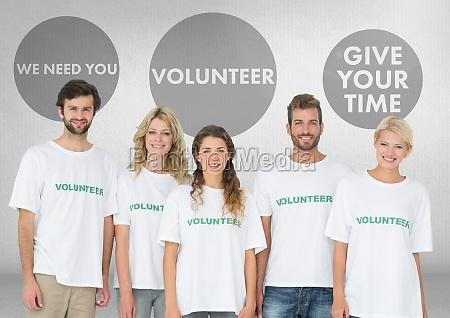 group of volunteers standing in front