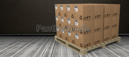 composite image of cardboard boxes arranged