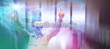 composite image of army soldier gesturing