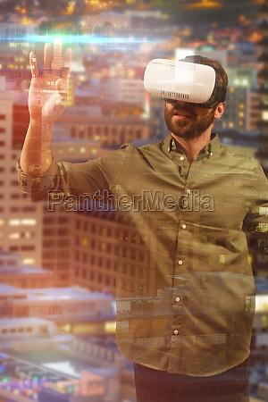 composite image of man using virtual