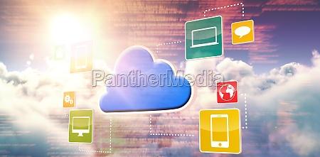composite 3d image of cloud computing