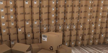 composite image of stack of cardboard