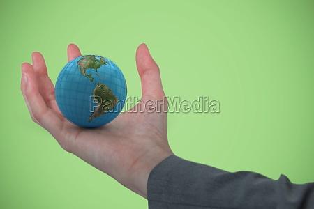 composite image of businesswoman hand gesturing