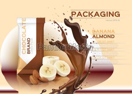 chocolate with banana and almonds vector