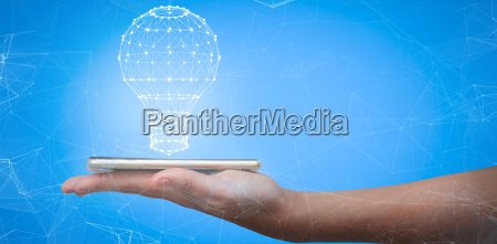 composite image of hand holding mobile