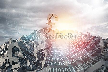 composite image of 3d illustration of
