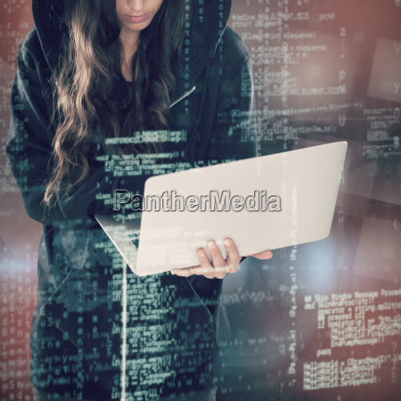 composite image of female hacker in