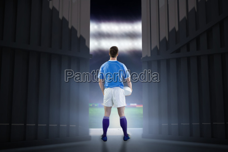 composite image of rugby player gesturing