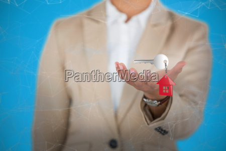 composite image of businesswoman using digital