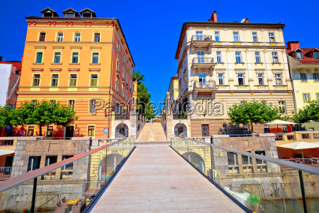 ljubljanica river bridge and riverfront architecture