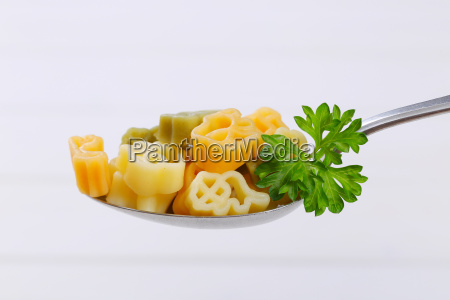 cooked colored pasta