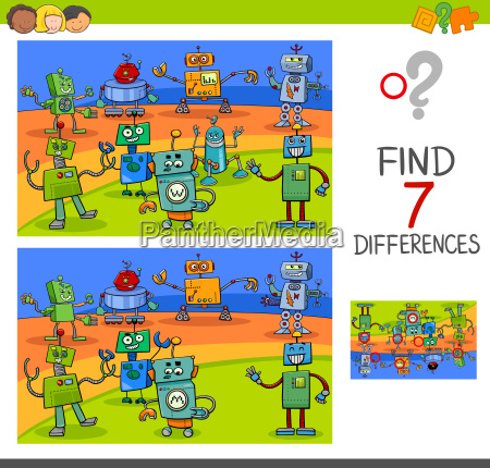 differences game with robot characters