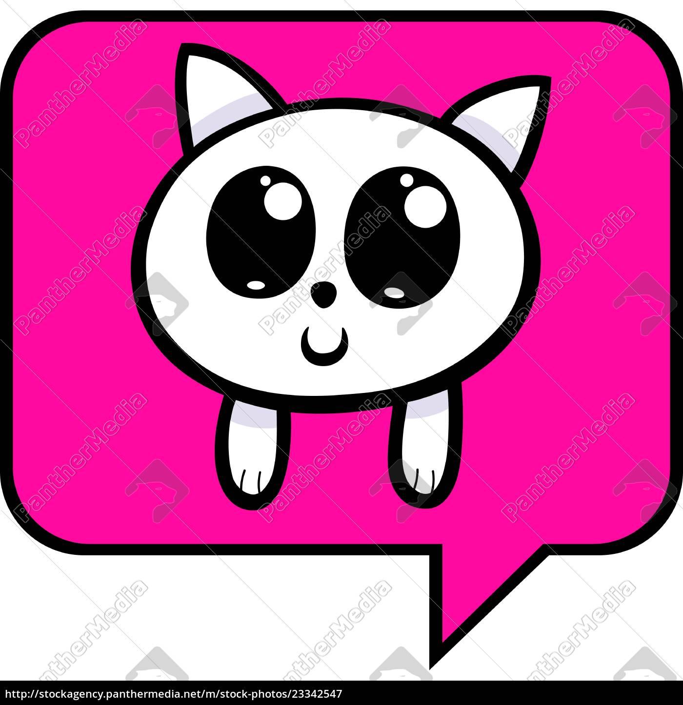 cartoon, kitten, chat, icon - 23342547