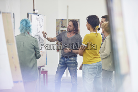students listening to instructor sketching at