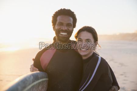 portrait smiling confident multi ethnic couple