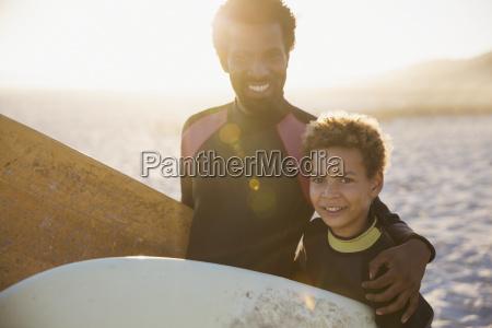portrait smiling confident father and son