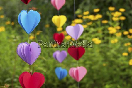 heart shaped garlands made of paper