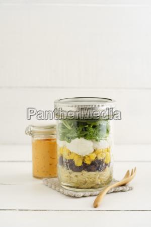 jar of vegetarian mixed salad with