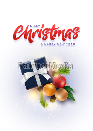 christmas decoration objects and gift box