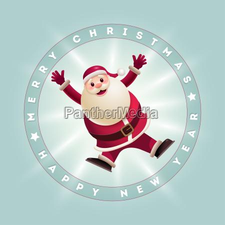 jumping santa card
