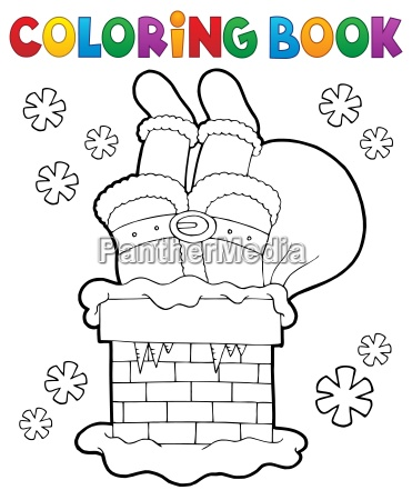 coloring book chimney with santa claus