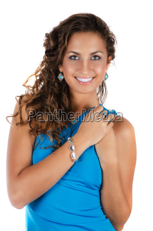 young beauty lady with blue dress
