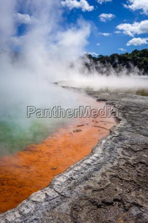 champagne pool hot lake in waiotapu