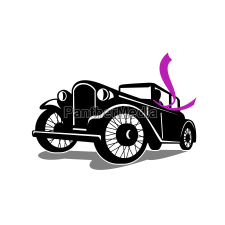 vintage coupe with flowing scarf retro