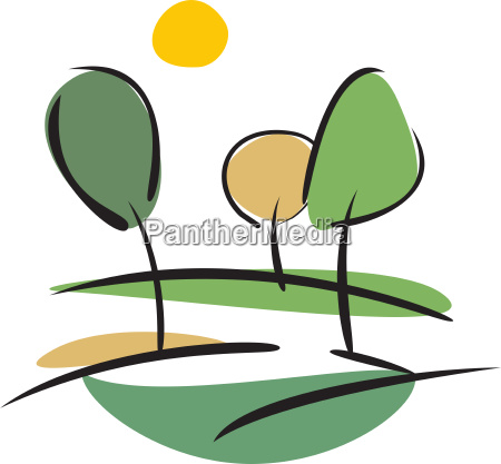 green trees on the hill vector