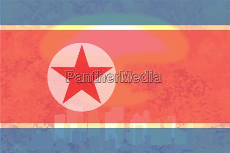 north korea flag atomic bomb