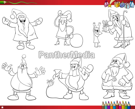santa claus characters collection coloring book