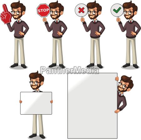 set of hipster businessman cartoon character